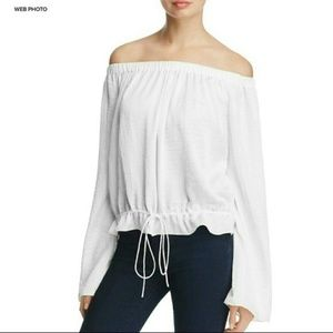 Theory Off Shoulder Tie Waist Odettah Blouse